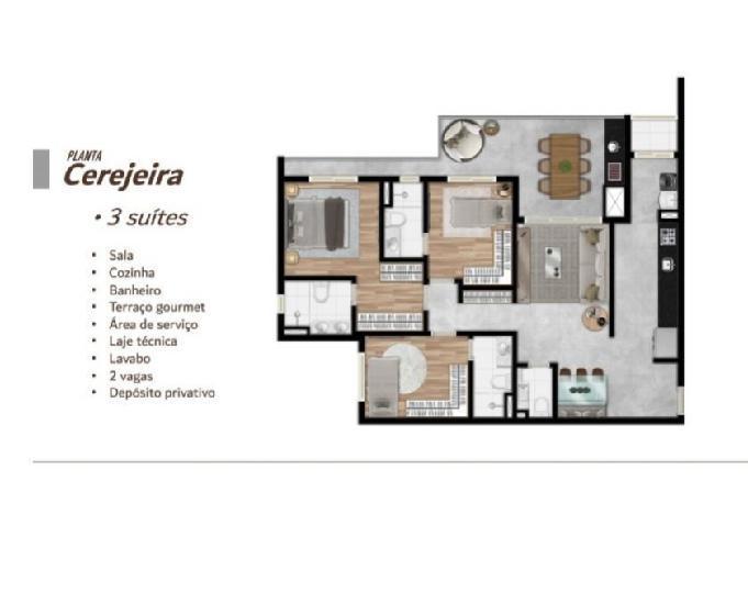 Granja viana apartamento 106m² 3 dorms 3 suítes 2 vagas
