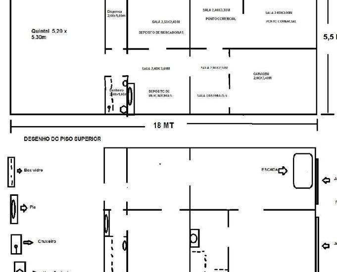 Imovel casa duplex + ponto comercial