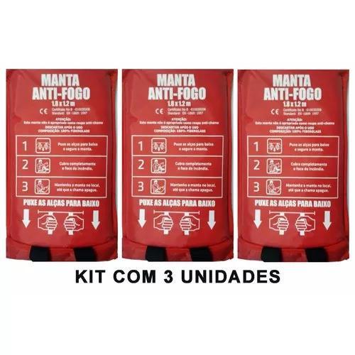 Kit 3 mantas anti-chamas combate focos de incêndio - cts550