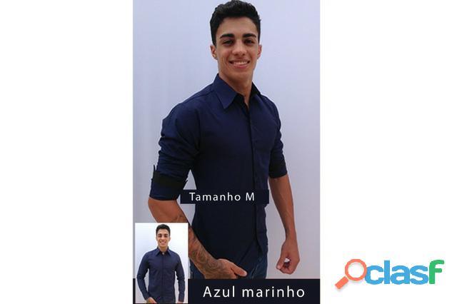 Camisa social slim fit, manga comprida tamanho m