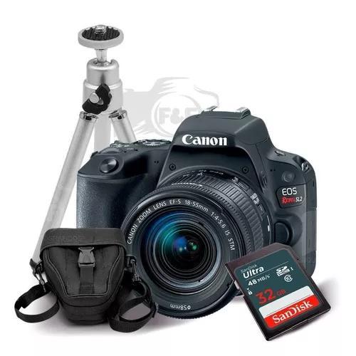 Canon rebel sl2 com lente 18-55mm + 32gb + case + tripe + nf