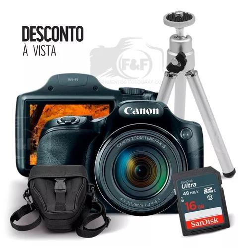Câmera canon powershot sx530 hs + sd 16gb case tripé + nfe