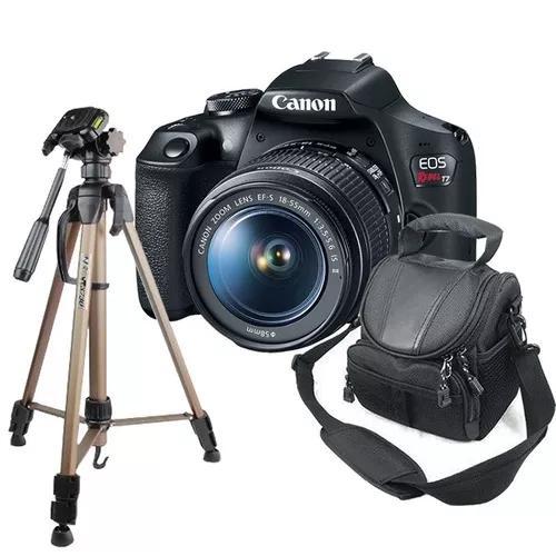 Câmera canon t7 + tripé para fotografia + bolsa ded