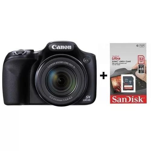 Câmera digital canon sx530 hs + sd 32gb + case + nf