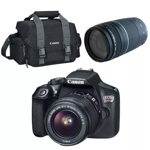 Câmera digital t6 18-55mm + lente profissional ef75+bolsa