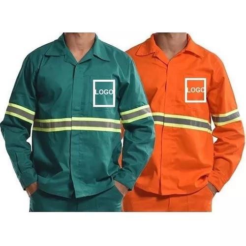 Camisa (jaleco) brim m/ longa 5 com logo e faixa refletiva
