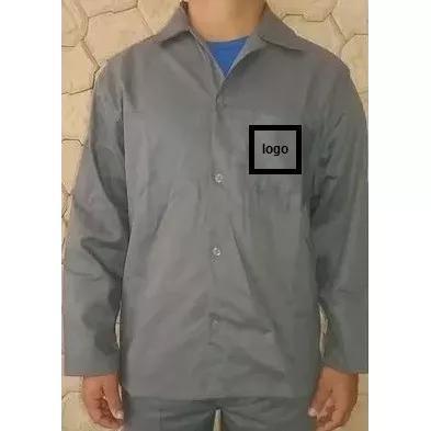 Camisa (jaleco) brim manga longa 5 unidades com logo