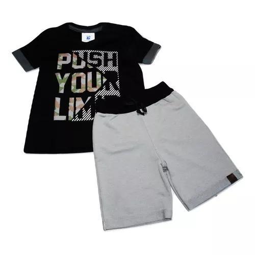 Conjunto camiseta bermuda moletom criança menino 4 a 10