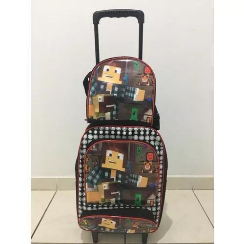 Kit mochila rodinha escolar infantil minecraft criança