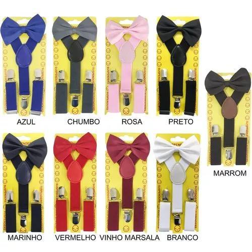 Kit suspensório + gravata borboleta infantil criança