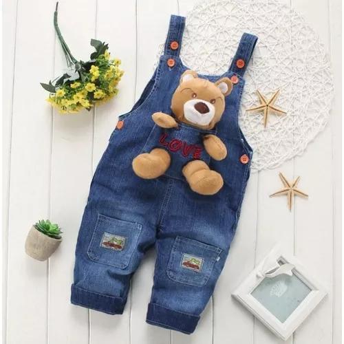 Macacão jardineira jeans criança unissex ursinho pooh!!