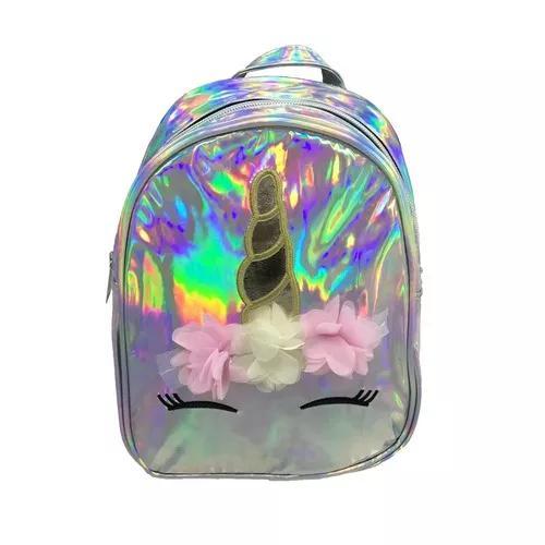 Mochila holográfica de criança unicórnio flor colorida