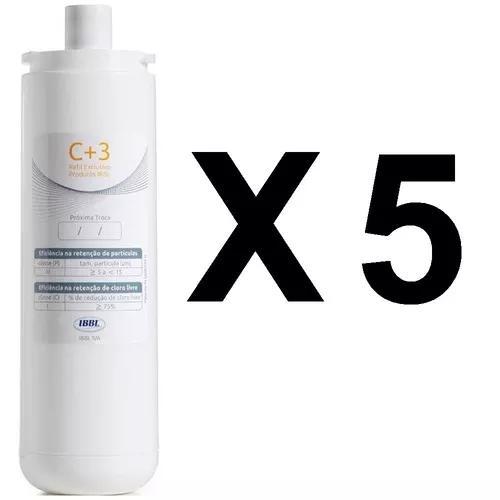 Kit 5 refil c+3 vela filtro purificador ibbl fr600 evolux c3
