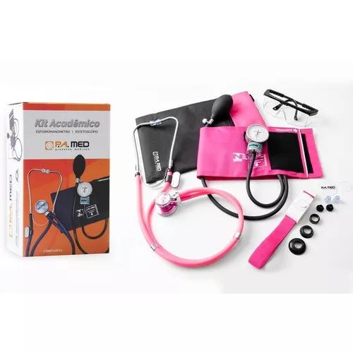 Kit acadêmico aparelho de pressão estetoscópio rosa pa
