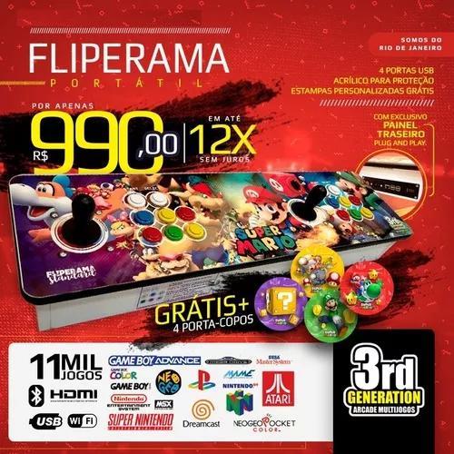 Fliperama portátil 11.500 jogos - (zero delay) + brindes