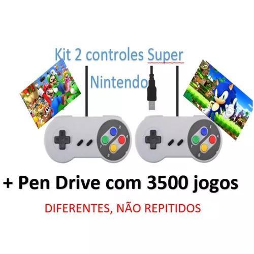 Kit 2 controles/joystick super nintendo usb 3500 jogos.