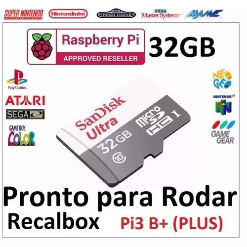06e91c4e3bb Micro sd 32g para raspberry c/ recalbox versão pi3 b+ plus
