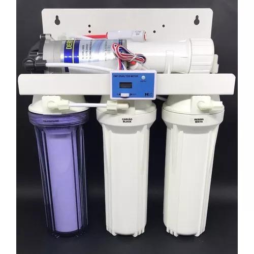Filtro osmose reversa 100gpd deionizador +bomba +tds inline