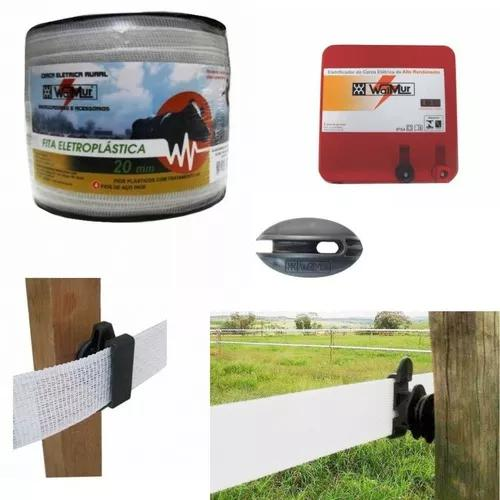 Kit cerca elétrica rural - fita, eletrificador, isolador