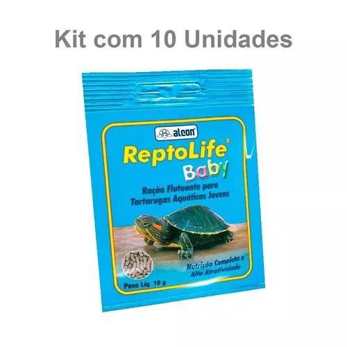 Kit com 10 unidades ração alcon reptolife baby 10g