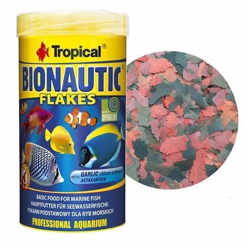 Ração tropical bionautic flakes 200g flocos peixes marinho