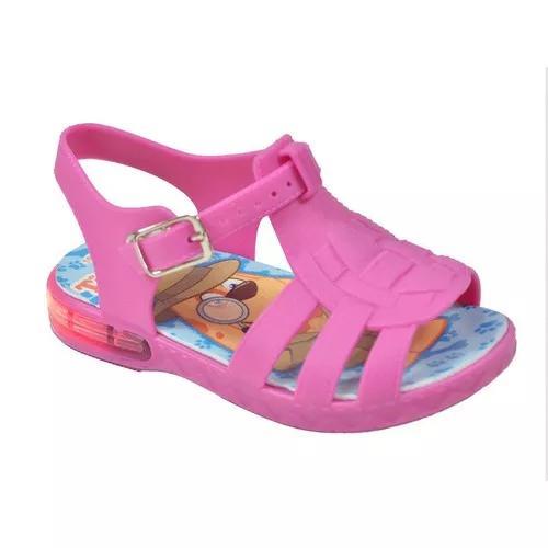 Sandália babuche led luzinha infantil menina pink criança