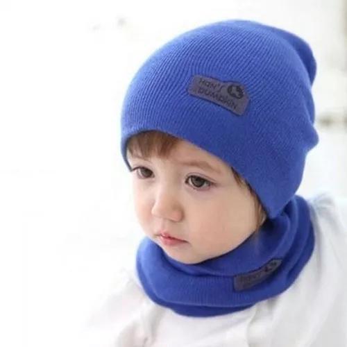 Touca bebê / criança inverno gorro com cachecol unissex