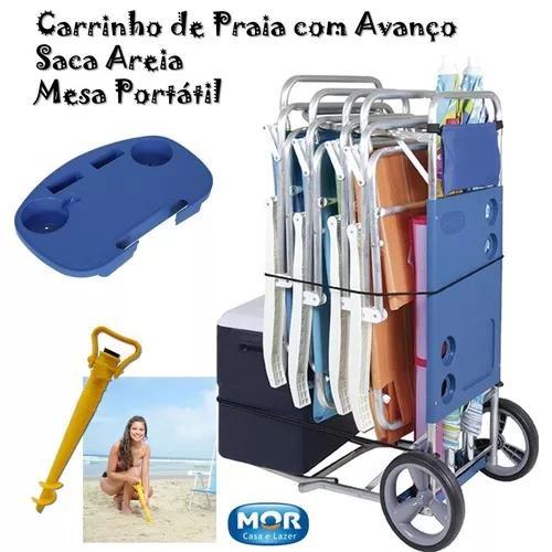 1 carrinho de praia com avanço 1 saca areia 1 mesa