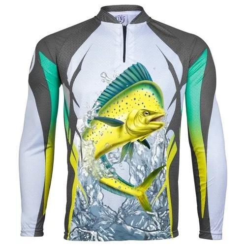 Camisa De Pesca Proteção Solar Uv King Kff49 Dourado Do