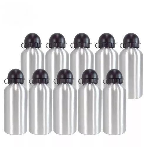 Kit 10 garrafa squeeze prata de alumínio 500ml p/