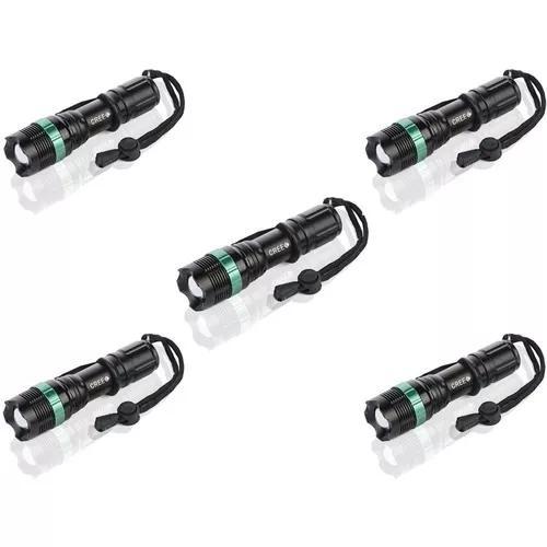 Kit 5 lanterna q5 led cree 25000 lum carregador bateria