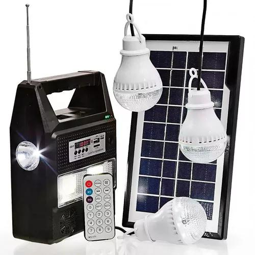 Kit bateria portátil placa solar 3 lâmpadas led mp3