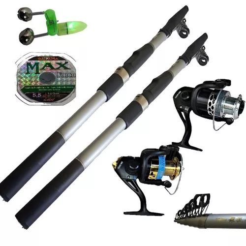 Kit pesca 2 vara 2,70m 97% carbono 2 molinete 10 rol 30 lbs
