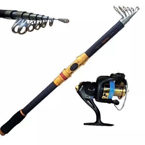 Kit pesca alto mar vara 3,60 mt 36 lbs molinete 10 rol. luxo