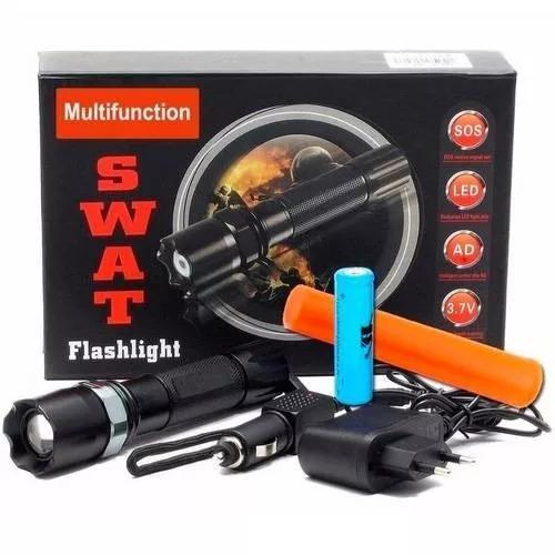Lanterna tática swat 38000w zoom bateria led sinalizador