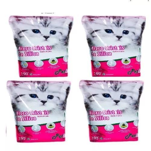 Areia silica petlike fina para gatos 1,6kg caixa c/ 4 un