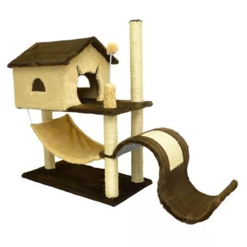 Arranhador casa new tobogã house com rede gatos