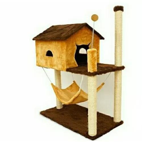 Arranhador house marrom com bege para gatos original