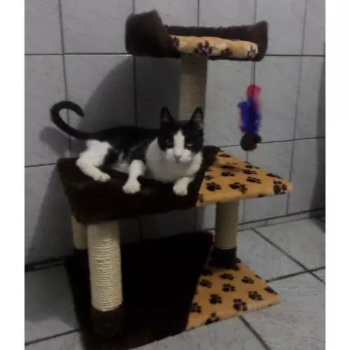 Arranhador para gatos com banco e brinquedo