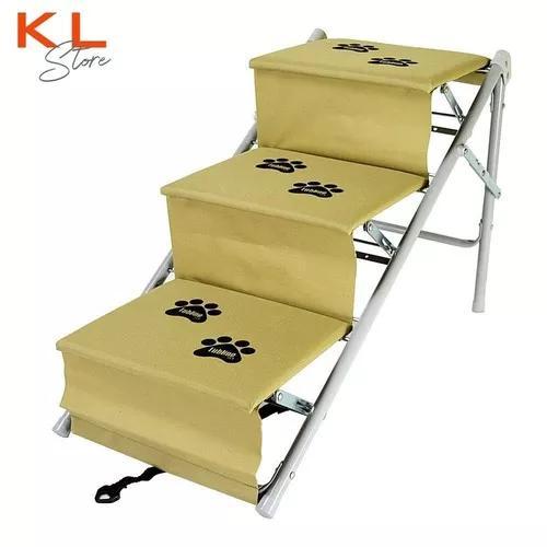 Escada ou rampa para cães cachorro tubline dobrável bege