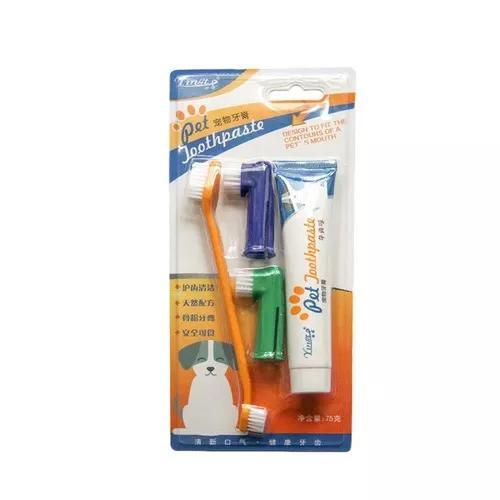 Escova pasta dentes pet cães limpeza conjunto 4 peças