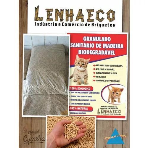 Granulado higiênico de madeira para gatos 40kg(leia