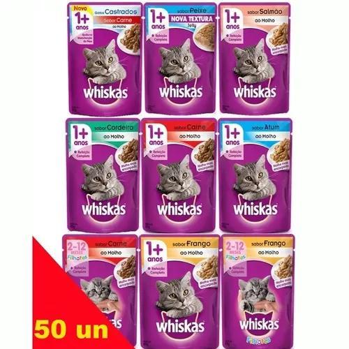 Kit 50 sachê whiskas gatos sabores variados à sua escolha