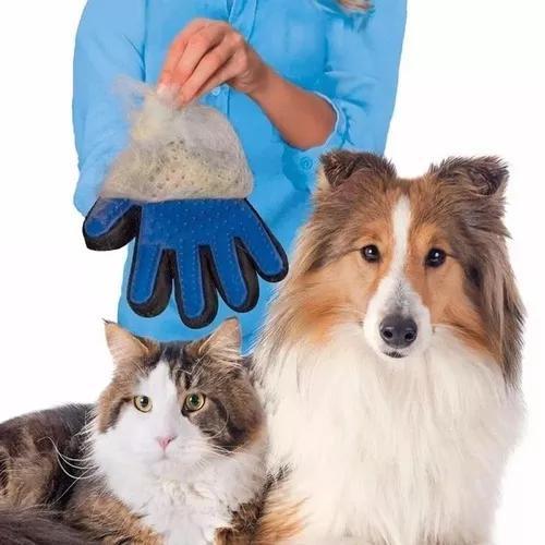 Kit c/2 luvas escova magnética tira pêlos pets cães &