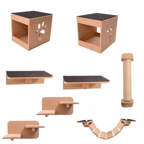 Kit nicho play gatos 8 pcs toca,escada,ponte,prateleira mdf