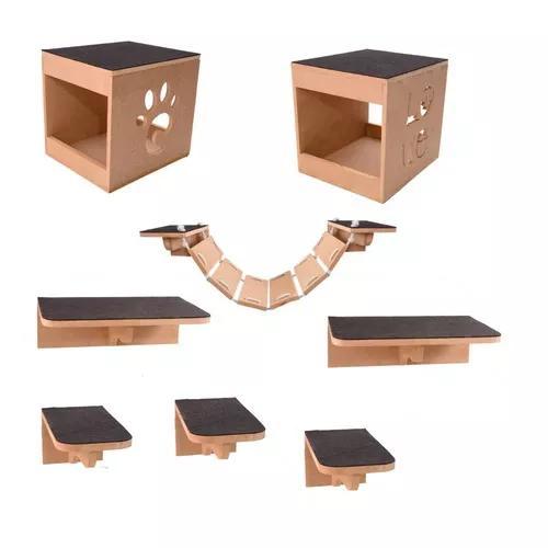 Kit play nicho gatos 8 pcs toca,2 escadas,prateleira mdf