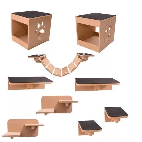 Kit play nicho gatos 9 pcs toca,escadas,ponte,prateleira mdf