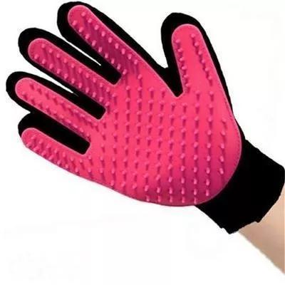 Luva escova massageadora tira pelos p/ caes e gatos cor rosa