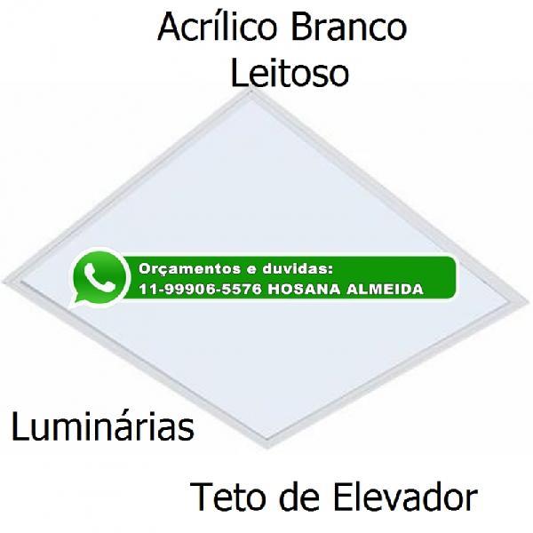 Placa branca leitosa para sub teto de elevador e luminárias