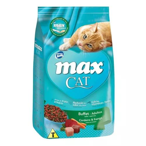 Ração max cat gatos adultos sabor cordeiro e frango - 20kg